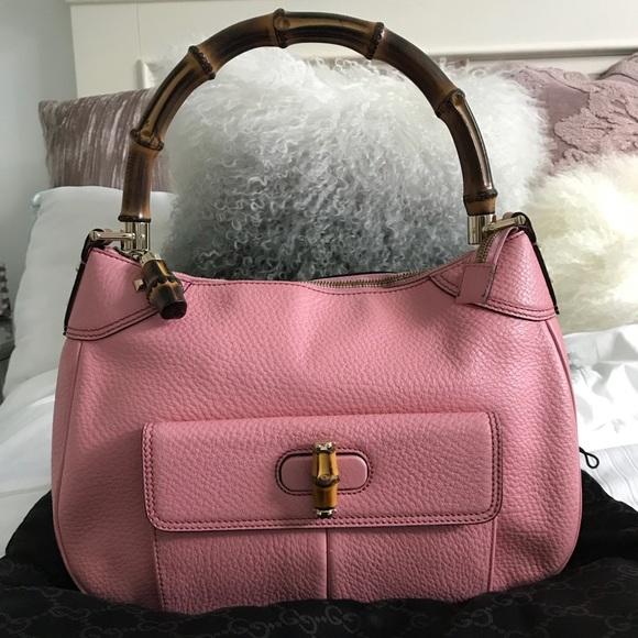 fd0bb7725b1 Gucci Bags   Calfskin Bamboo Top Handle Bag Pink   Poshmark